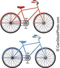 two bikes on a white background