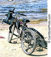 Two bikes on the Baltic beach