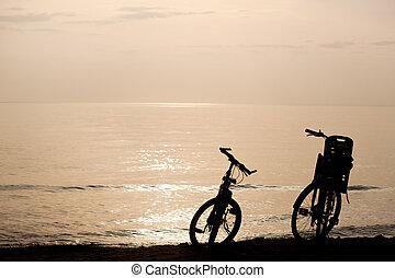 Two bikes on the coast