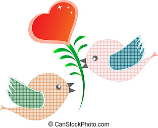 two bird with red heart isolated on white