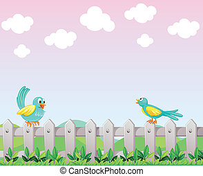 Two birds above the fence - Illustration of the two birds...