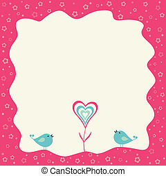Two birds and heart flower in a retro frame with copy space.