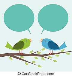 Two birds communicating - Two cute vector birds perched on ...