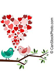 Two birds in love on branch