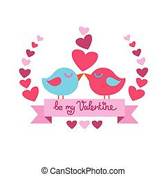 Two Birds Kiss Heart Shape Valentine Day Red