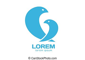 Two birds logo icon template. Mother and child concept....