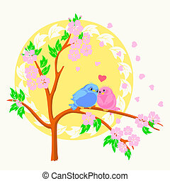 Two birds sitting on the branch