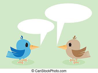 Two birds talking