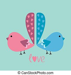 Two birds with heart tails. love card.