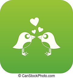 Two birds with hearts icon digital green