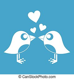 Two birds with hearts icon white