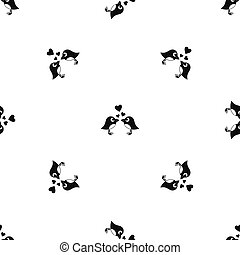 Two birds with hearts pattern seamless black