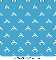 Two birds with hearts pattern seamless blue