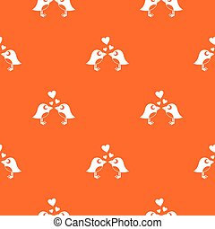 Two birds with hearts pattern seamless