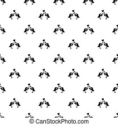 Two birds with hearts pattern vector