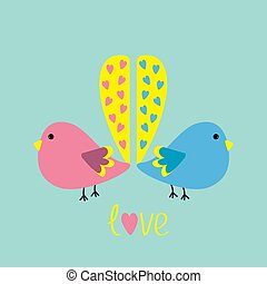 Two birds with yellow heart tails. love card.