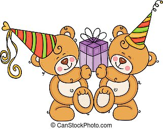 Two birthday teddy bears holding a gift