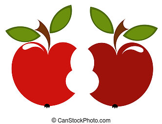Two biten apples