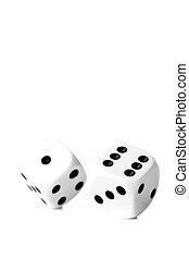 Two black and white dices in motion against a white background