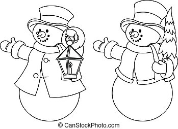 Two black and white snowmen for co