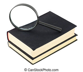 Two black books and magnifier glass on white