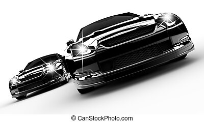 Two black cars run on a white background