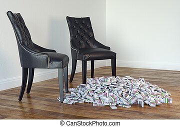 Two Black Chairs In Minimalist Room