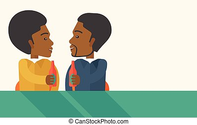 Two black co- workers having fun drinking beer in a pub. - A...