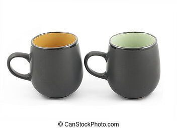 Two black cups on white