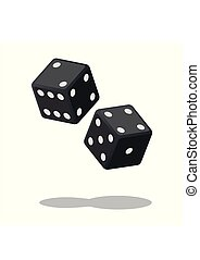 Two black dices isolated on white background with shadow. Dice gambling. Black cubes vector illustration