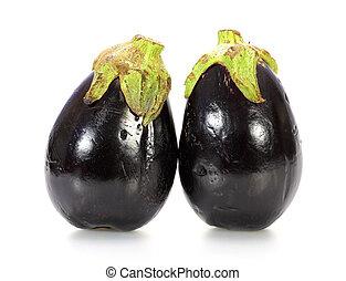 Two black eggplants isolated on white