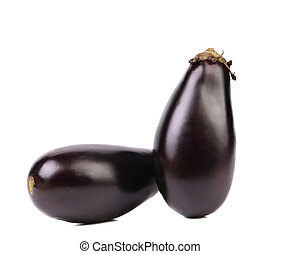 Two black eggplants.
