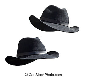 Two Black Felt Stetsons - Two Black Felt stetsons isolated...