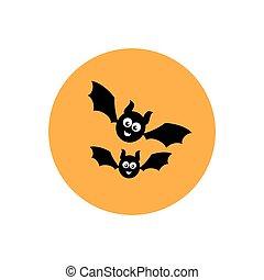 two black funny cartoon smiling bats in orange circle. Flat icon on white