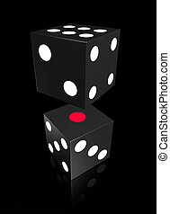 Two black gamble dice with black background