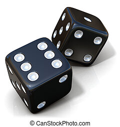 Two black game dices isolated