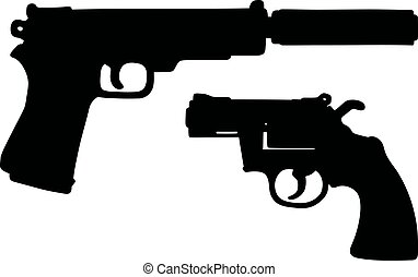 Two black handguns