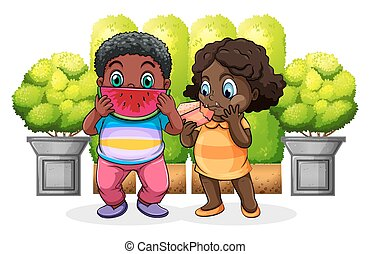 Two black kids eating
