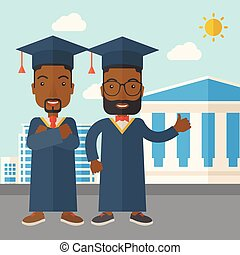 Two black men wearing graduation cap.