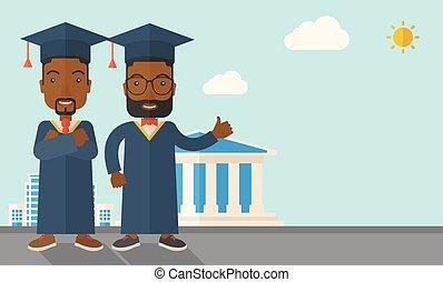 Two black men wearing graduation cap. - A happy two black...