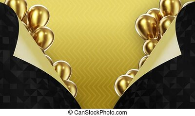 two black pages turned inside out on a yellow background with golden balloons