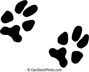paw prints - two black paw prints from a dog - illustration