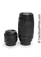 Two black photo lenses isolated on white