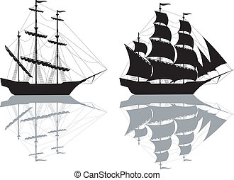Two black ships  - Two black old ships isolated on white