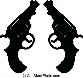 Two black short revolvers