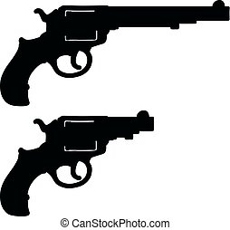 Two black silhouettes of revolvers