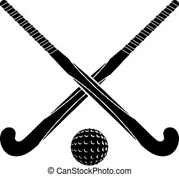 Two black silhouettes sticks for field hockey and ball on a whit