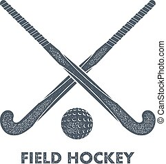 Two black silhouettes sticks for field hockey and ball on a white background with grunge