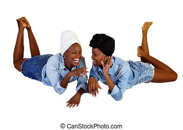 Two Black Sisters Reclining Open Mouth Laugh