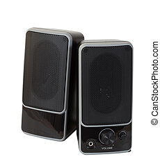 two black  speaker. Isolated  over white